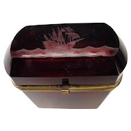 FINE Antique 19c Bohemian Jewelry or Tobacco Glass Box Casket with Engraved Ship on High Seas Lid