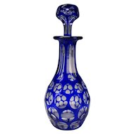Awesome 19c Bohemian Cobalt Blue Cut to Clear Punty Bottle