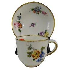 Antique 18c Sevres Porcelain Hand Painted Cup Saucer