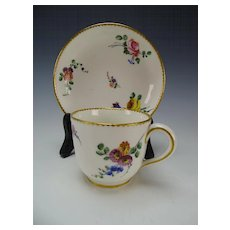 18c Antique Sevres Porcelain Hand Painted Flowers Cup & Saucer