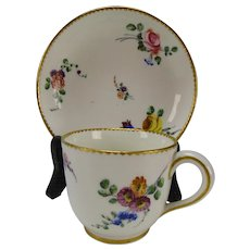 18c Antique Sevres Porcelain Hand Painted Flowers Cup & Saucer
