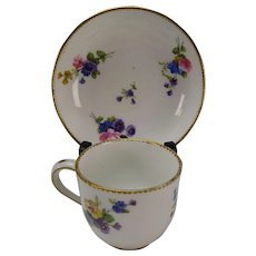 c1778 Antique Sevres Porcelain Cup Saucer Signed Dated