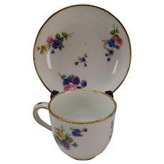 c1778 Antique Sevres Porcelain Cup Saucer Signed Dated