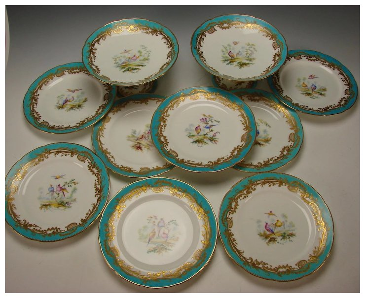 Antique c1840 Minton English Porcelain 8 Hand Painted Bird Plates and 2 Compotes : english porcelain dinnerware - pezcame.com