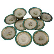 Antique c1840 Minton English Porcelain 8 Hand Painted Bird Plates and 2 Compotes