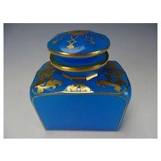 Antique 19c French Blue Opaline and Gilt Dresser Jar Bottle
