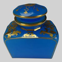 Antique 19c French Blue Opaline and Gilt Dresser Jar Bottle
