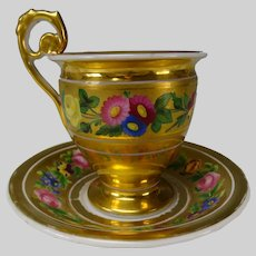 c1820s/30s Antique French Old Paris Porcelain Cup and Saucer Hand Painted