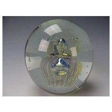 Large Signed 2004 Eickholt Modernist Art Glass Opalescent Paperweight