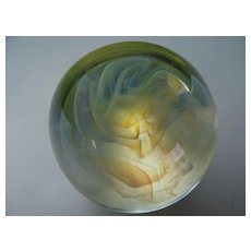 Charles Wright Opalescent Ribbon Swirl Art Glass Paperweight