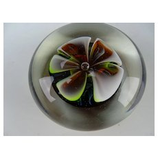Fine Modern Charles Wright Studio Ribbon Cased Glass Paperweight