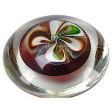 LARGE Fine Modern Charles Wright Studio Ribbon Cased Glass Paperweight