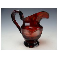 Antique Bohemian Ruby Stained Carved SPA Glass Pitcher c1880