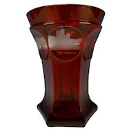 19c Antique Bohemian Egermann Ruby Carved SPA Beaker Glass Vase
