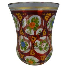 Antique 19c Bohemian Ruby Stained and Enameled Glass Tumbler