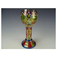 Antique Bohemian Heckert Enamel Stained Wine Glass Chalice