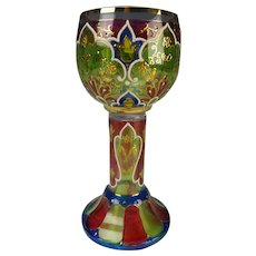 Antique Bohemian Moser Enamel Stained Wine Glass Chalice