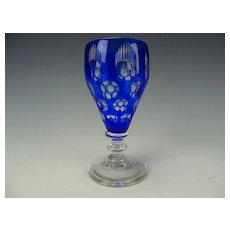 Fine Vintage Bohemian Cobalt Blue Cased Cut Optic Glass Wine Stem