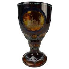 Vintage Bohemian Egermann Deep Ruby Engraved Glass Vase