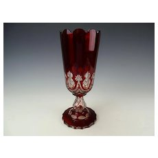 c1880 Bohemian Ruby Stained Cut and Faceted Tall Glass Vase