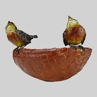 Antique Large Bergmann Vienna Cold Painted Bronze Birds on Basket