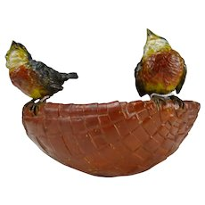 Antique Large Bergmann Vienna Cold Painted Bronze Birds on Basket