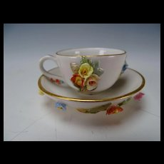 Miniature Antique Meissen Porcelain Flower Encrusted Cup and Saucer