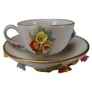 Miniature Antique Meissen Porcelain Flower Encrusted Cup and Saucer