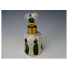 Antique Bohemian Moser Cased Glass Gothic Moorish Perfume Bottle