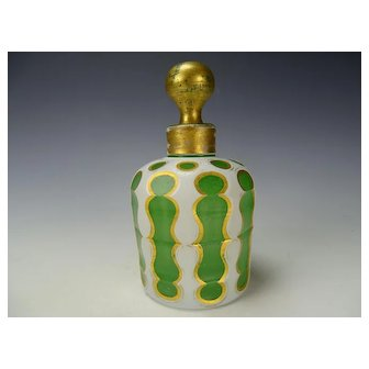 c1850 Bohemian White Cut to Green Opaline Perfume/Cologne Bottle