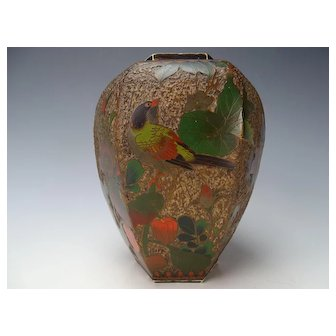 Antique Large Tree Bark Meiji Cloisonne Porcelain Vase