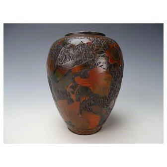 19c Meiji Japanese Tree Bark Totai Cloisonne Vase