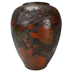 19c Meiji Japanese Tree Bark Totai Cloisonne Vase