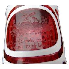 Antique Bohemian Cranberry Overlay Engraved Beaker Glass Vase