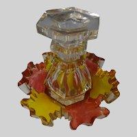 Antique Biedermeier Bohemian Cut Glass Perfume Cologne Bottle c1825