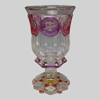 Antique Biedermeier Egermann Bohemian Engraved Glass Pokal Vase