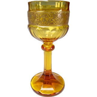 Antique Moser Karlsbad Cut Faceted Wine Glass Chalice Signed
