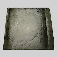 Huge Antique 19c Bohemian Engraved Lion  and Cut Glass Pitcher Jug