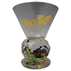Antique Bohemian Lampwork Paperweight Glass Highball Martini Stem