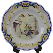 Antique 18c French Faience Rouen Guillibaud Pottery Baroque Plate