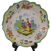 Antique 18c VP Vueve Perrin French Faience Hand Painted Pottery Plate Marseilles