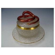 Fine Bohemian Cranberry Glass Snake on Crackle Lidded Jar and Plate