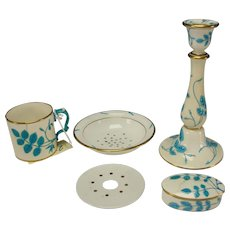 5 Pieces Antique Minton China Turquoise Leaves Majolica 2 Sluice Inserts, 3 As IS Box, Cup Candlestick