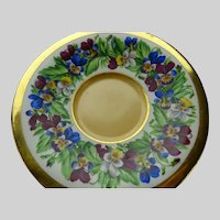 Antique 18/19c Royal Vienna Porcelain Hand Painted Pansies Plate