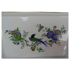 Meissen Porcelain Hand Painted Bird and Flower Tray 15""