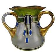 Antique Haida Secessionist Enamel Glass Vase Loving Cup c1910