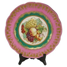 Victorian English Minton Hand Painted Elegant Gilt Pink Border Plate