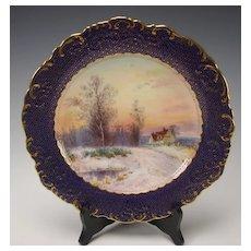 Antique Minton China Signed J Dean Scenic Landscape Portrait Plate