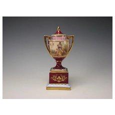 Antique Royal Vienna Porcelain Porzellan Cupid Hand Painted Lidded Jar Urn Vase