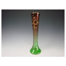 """Huge Moser Bohemian Cranberry to Green Glass Vase Gold Relief Gilt 16"""""""